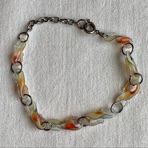 Vintage Italian Glass Swirl Beads Bracelet